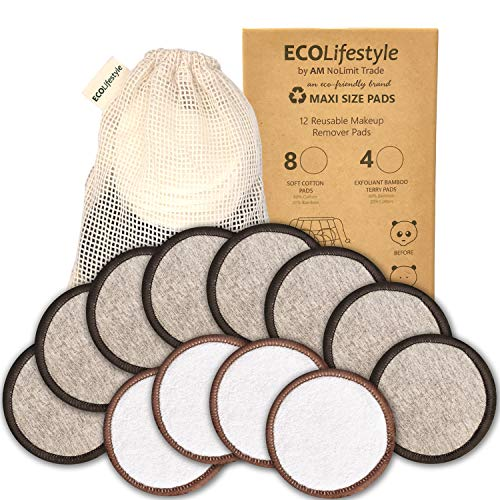 Reusable Makeup Remover Pads - 12 MAXI SIZE Reusable Bamboo and Cotton Rounds - Eco Friendly Products Zero Waste Sustainable Cloths Organic Pads - Eye and Face Cleaner Removal for all skin types