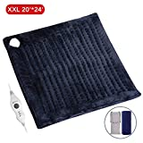 XXL Electric Heating Pad, 20'' x 24'' Large Size with Auto Shut Off, MARNUR Flannel Fast-Heating Warmer with 3 Temperature Settings Comfy for Self Warming Back Shoulder Body Relief