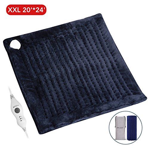 XXL Electric Heating Pad, 20 x 24 Large Size with Auto Shut Off, MARNUR Flannel Fast-Heating Warmer with 3 Temperature Settings Comfy for Self Warming Back Shoulder Body Relief