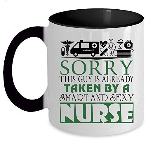 Best Gift For Nurse's Husband Coffee Mug, This Guy Is Already taken By A Smart Nurse Accent Mug (Accent Mug - Black)