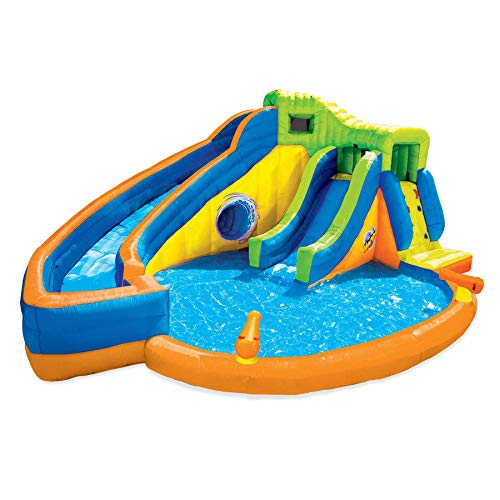 BANZAI Pipeline Twist Kids Inflatable Outdoor Water Pool Aqua Park and Slides