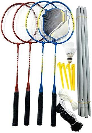 Summeishop 4er-Set Tennisschläger zum Spielen oder Training, Karbonfaser, Aluminiumlegierung, mit Tragetasche