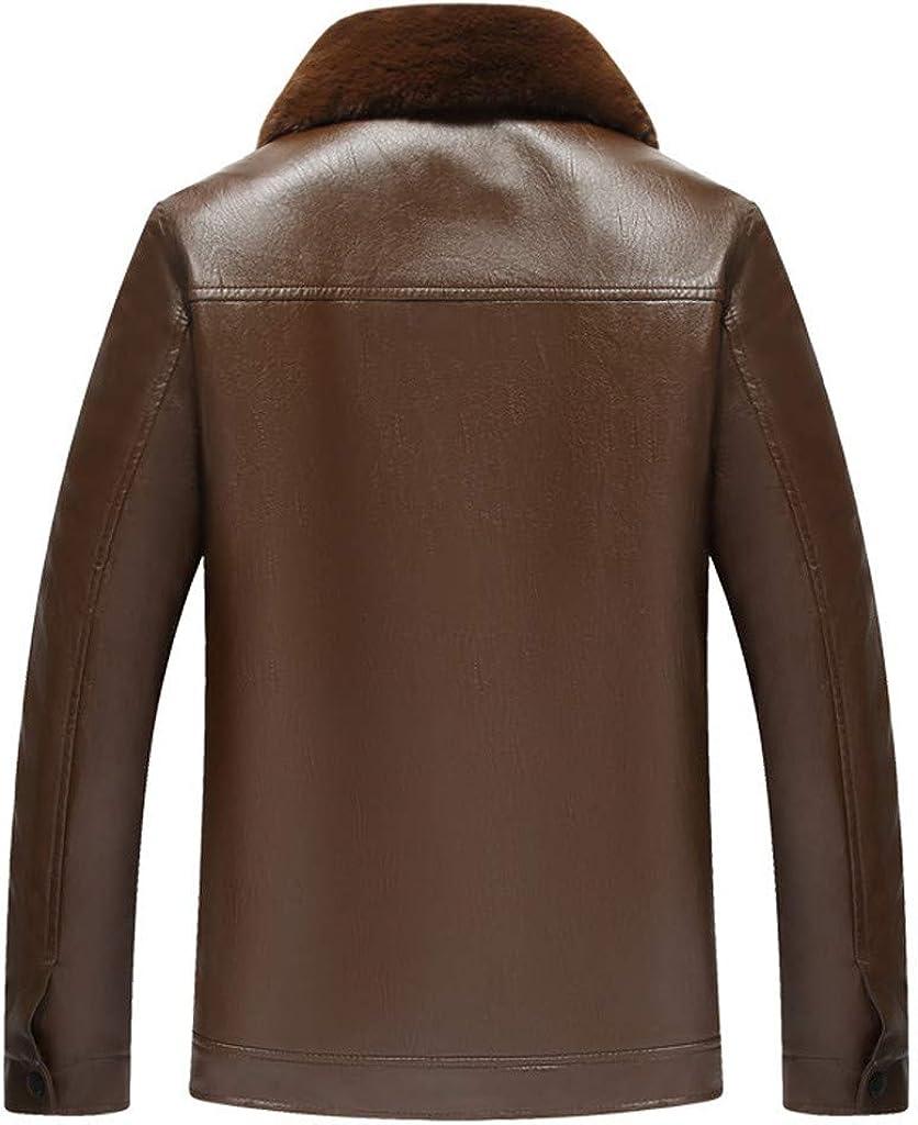 StyleV Men Faux Leather Jacket,Stand Collar Warm Winter Fleece Motorcycle Lightweight Biker Bomber Zipper Business Coat