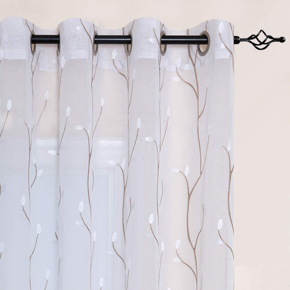 White Sheer Curtains for Bedroom 63 Inch Length Floral Embroidered Sheers for Living Room Embroidery Voile Grommet Window Curtain 2 Panels White