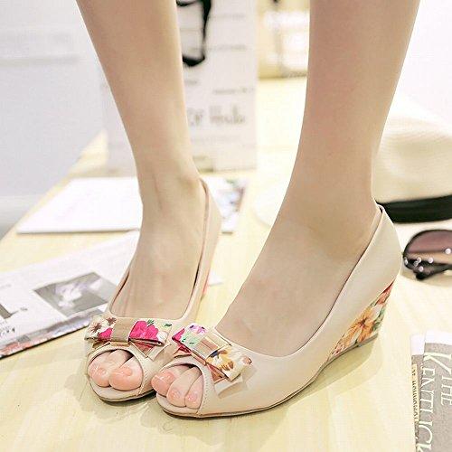 Charm Foot Mujeres Elegance Arcos Wedges Peep Toe Bombas Zapatos Beige