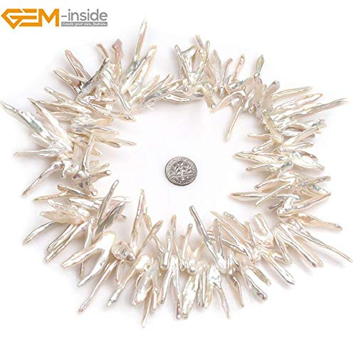 Calvas Gem-Inside Natural Big Large V Shape White Stick Point Biwa Freshwater Cultured Luster Pearls Beads for Jewelry Making 15'' DIY - (Color: Top Drilled 15x50mm)