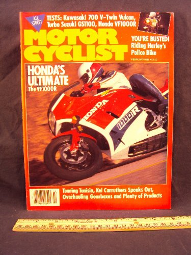 1985 85 Febuary MOTORCYCLIST Magazine (Features: Honda VF1000 R, BMW R80 G/S Paris / Dakar Replica, Harley Davidson EXRP Police