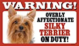 Warning! Overly Affectionate Silky Terrier On Duty! Dog Wall Sign with Bonus