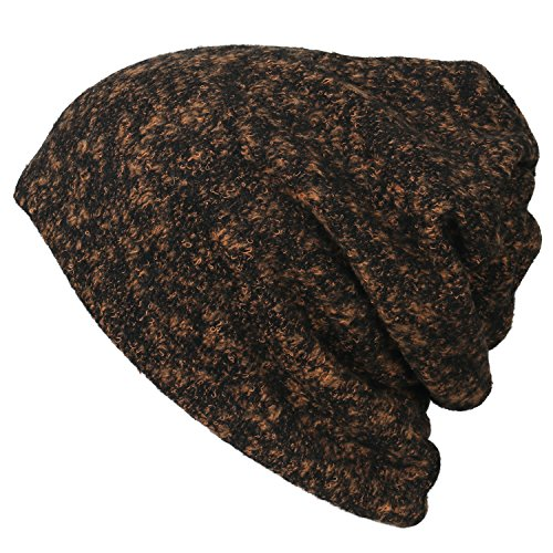 Neck Soft ililily Hat Melange Snood Orange Fur Short Beanie Color Cap Faux Skull 66SvZx