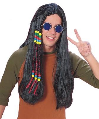 Adults Black Hippie Wig