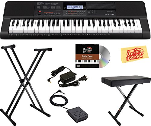 Casio CT-X700 Portable Keyboard Bundle with Stand, Bench, Su