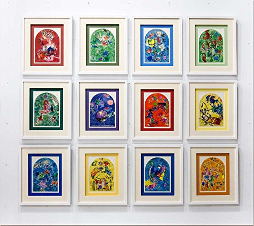 12 Marc CHAGALL (1887-1985) Color Lithograph Limited Edition | Windows for Jerusalem - Set of 12 | w/ Custom Frame | Proofed by Presses of Mourlot Freres, Paris 1962 | Catalogue References: Cramer 46 | ART·docs™ Registered Documentation¹ + ART·care™² + ART·sure™ Lifetime Guarantee³ ()