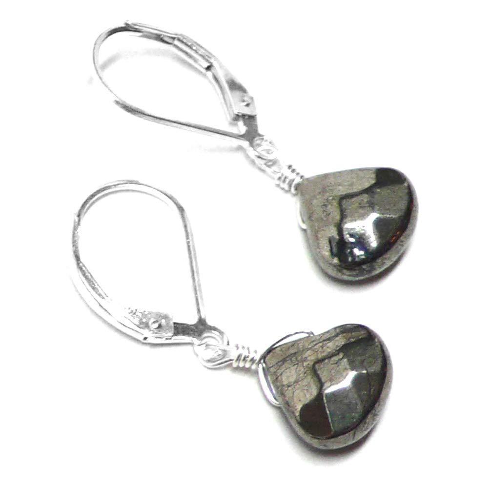 Pyrite Briolette Sterling Silver Lever Back Earrings