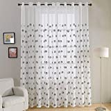 Top Finel Semi Sheer Grommet Curtains for Living Room Long Embroidered Voile Window Curtains Panels for Bedroom, 54 inch x 96 inch, Set of 2, Black Soccer