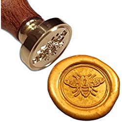 Bee Wax Seal Stamp, [Also Available in Other Patterns], Botokon Vintage Retro Brass Head Wooden Handle Removable Sealing Stamp, Ideal for Embellishment of Envelopes, Invitations, Wine Packages, etc