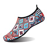 JIASUQI Woman Summer Barefoot Water Skin Shoes for Surf Diving Red Navy US 5.5-6.5 Women, 5-5.5 Men