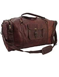 "handmadecraft magic Reaction Colombian Leather 24"" Duffel Bag-Carry-On Luggage travel bag"