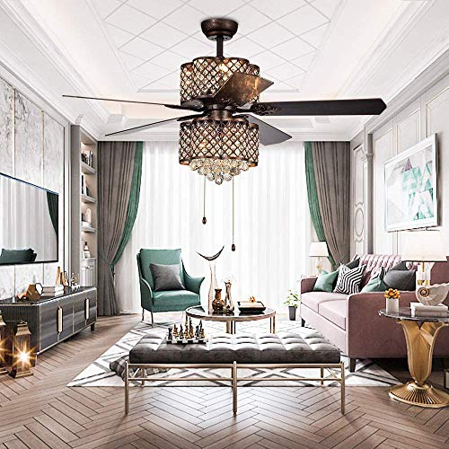 Crystal Ceiling Fan With Remote Control 5 Wood Blades Reversible 52 Inch Bronze For Living Room Bedroom