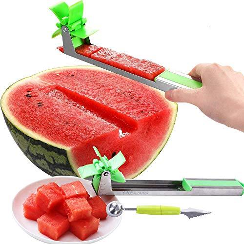 SKDORE Watermelon windmill cutter, Stainless Steel Watermelon Slicer Cutter Knife Corer Fruit Vegetable Tools Kitchen Gadgets with Melon Baller Scoop Extra - Baller Melon Gadget