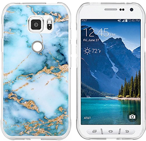 S7 Active Case Granite & Galaxy S7 Active Protector & MUQR Replacement Bumper Rubber Gel Silicone Slim Drop Proof Protection Compatible Cover For Samsung Galaxy S7 Active & Blue Marble Pattern