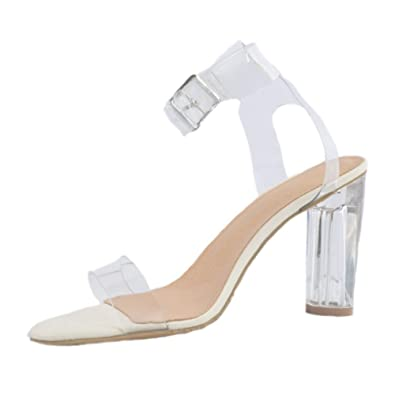 Amazon.com   CASSOCK Womens High Heel Sandals PVC Sexy Summer Shoes Chunk Fashion Sandal Shoes   Heeled Sandals