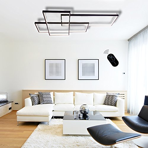 LightInTheBox Modern LED Ceiling Light Dimmable Flush Mount Wall Light Alumilium Painting Finish Lighting Fixture with Remoter 8000LM 3000/6000K for Living Room Bed Room (White)