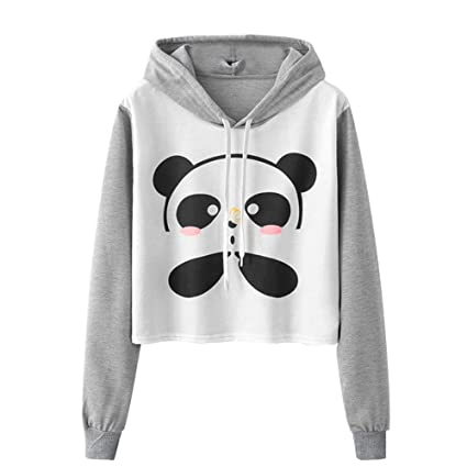 Swyss Fall Hoodie, Womens Cartoon Panda Printing Hooded Pullover Girls Cute Short Sweatshirt Tops Blouse at Amazon Womens Clothing store: