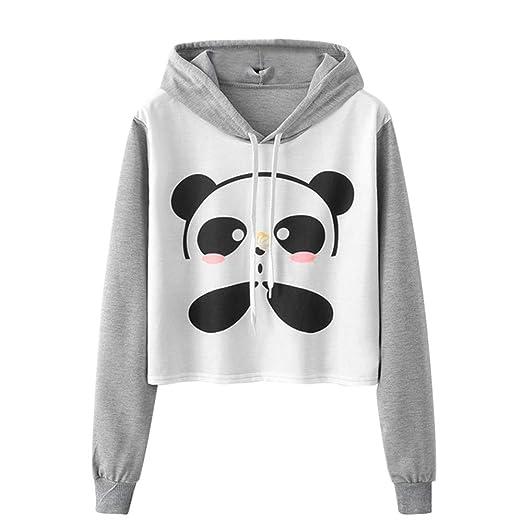 fa9e39470 OCASHI Women Teen Girl Long Sleeve Hoodie Cute Panda Crop Top Pullover Top  Sweatshirt: Amazon.ca: Clothing & Accessories