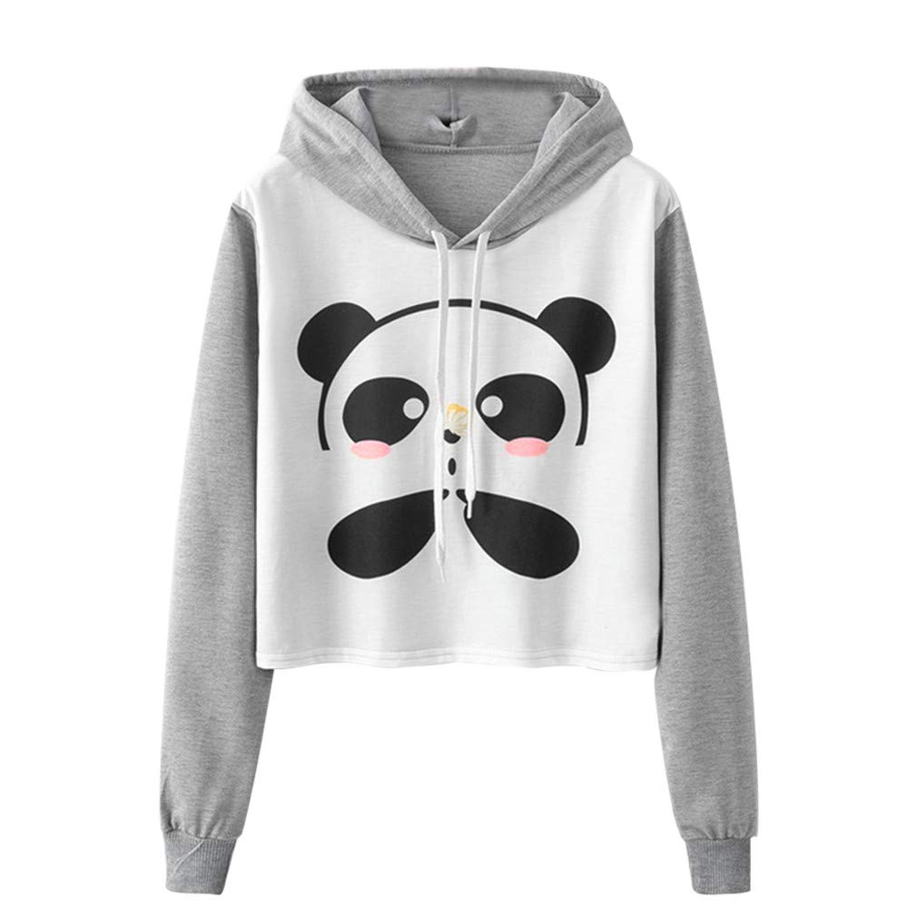 Womens Sweatshirt Cartoon Panda Printing Hooded Shirt Long Sleeve Cute Girl Blouse (Gray, XL)