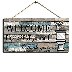 Printed Wood Plaque Sign Wall Hanging Welcome Sign Please Seat yourself Wall Art Sign Size 11.5″ x 6″ (Blue-Black)