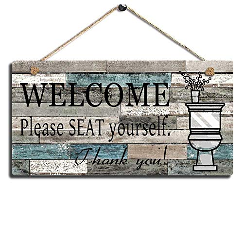 - Smarten Arts Printed Wood Plaque Sign Wall Hanging Welcome Sign Please Seat Yourself Wall Art Sign Size 11.5