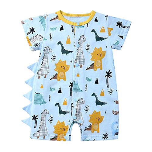 NUWFOR Romper Newborn Infant Baby Boy Girl Cartoon Dinosaur Romper Jumpsuit Outfits Clothes Set for Toddler(Blue,18-24 Months)]()