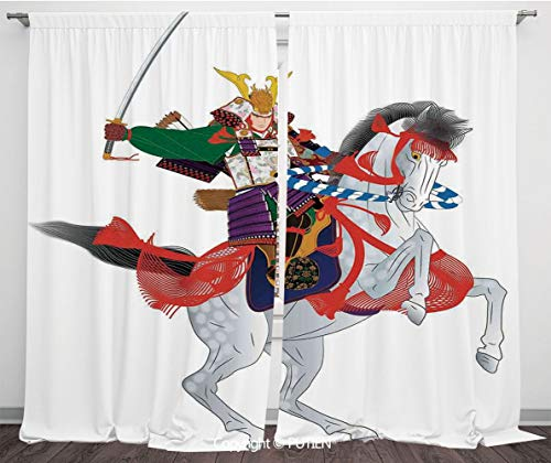 Satin Window Drapes Curtains [ Japanese,An Asian Soldier with Local War Clothes Armour Riding a Prancing Horse Illustration,Red Green ] Window Curtain Window Drapes for Living Room Bedroom Dorm Room C