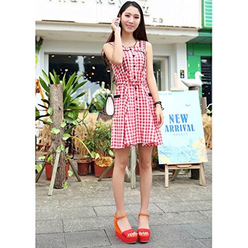 donna 41 dimensioni toed 10cm SANDALI open Tacchi Orange scarpe moda piattaforma 10cm arancione Colore spesso donna fondo alti sexy zeppa Orange w1UxOqT