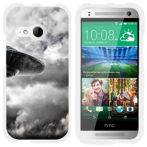 ible for HTC One M8 Mini Case | One Mini 2 | One Remix [Slim Duo] Hard Shell Slim Snap On Case Protector Fit Matte Cover on White Alien and UFO Series - Flying Saucer ()