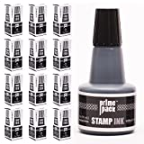 PRIMEPACK Stamp Ink Refill Set | Bulk 12 Packs - for Self Inking Stamps and Rubber Stamp Pads - Premium School and Office Supplies - Great for Kids, Children, Teacher – 1 oz. Bottle - Black