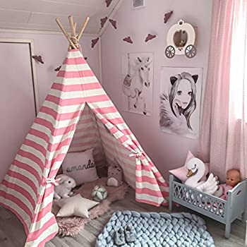 Teepee Tent for Girls Princess Canvas Childrens Play Tent for Indoor Decor with Carry Case  Pink u0026 White Stripe by Tiny Land & Amazon.com: Kids Teepee Children Play Tent with Mat u0026 Carry Case ...