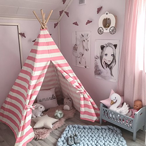 Tiny Land Kids Teepee Tent for Girls, Pink & White Stripe Canvas Princess Play Tent for Childrens Indoor Outdoor with Carry Case ()