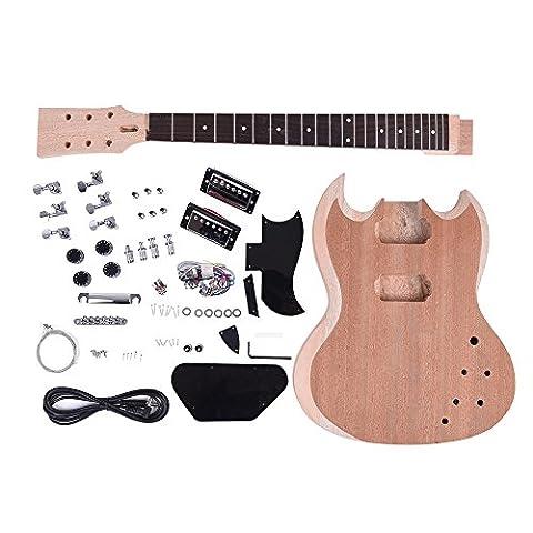 ammoon Unfinished DIY Electric Guitar Kit Mahogany Body Neck Rosewood Fingerboard - Nichel 7 String Chitarra