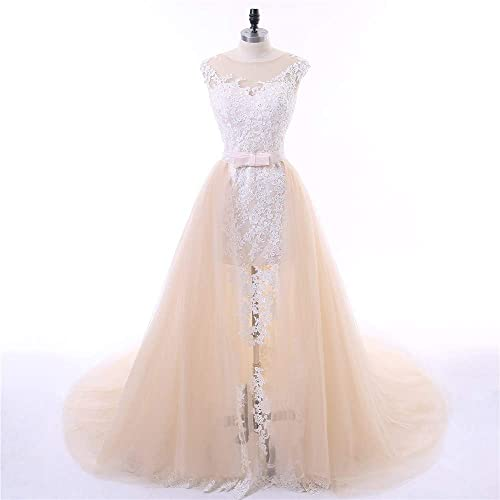 bd5dee5d261 Amazon.com  White Lace and Champagne Tulle Beach Wedding Dresses Two Piece  Prom Party Dress  Handmade