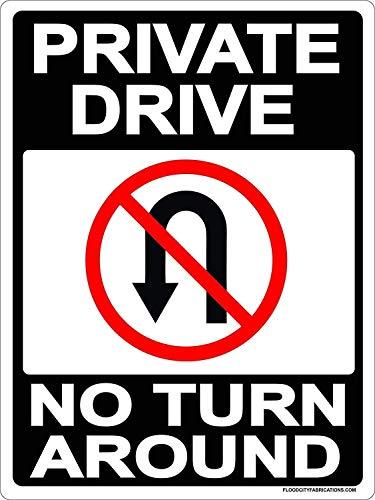 YIGUBIGU Private Drive No Turn Around Sign 12 X 8in Metal Tin Sign Driveway, Property, No Parking, No Turns, Black