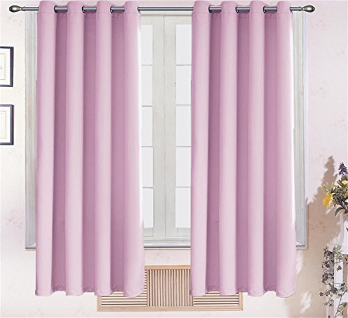 Conture tex Room Darkening Thermal Insulated Blackout Grommet Window Curtain Panels Privacy Assured Ring Top Curtains(Two Panels 52 inch by 84 inch, Pink