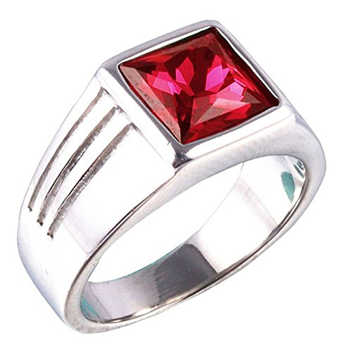 PAMTIER Men's Stainless Steel Square Red Gemstone Ring (Silver) Size 9 (Stainless Steel Square Ring)