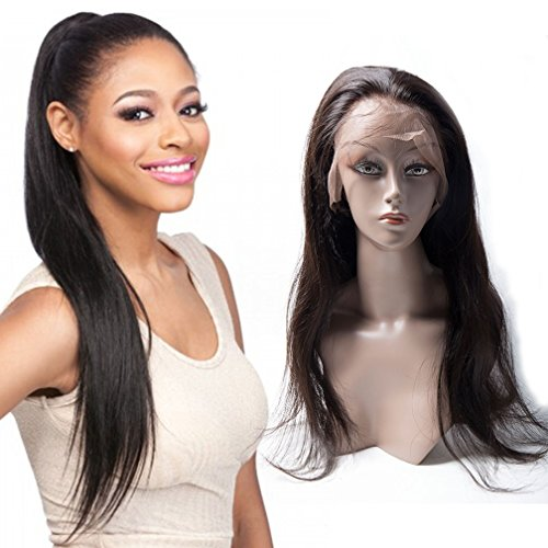 360 Lace Frontal Wig Cap With Baby Hair Brazilian Virgin Straight Hair 100% Unprocessed Human Hair Wigs For Black Women Pre Plucked 16inch by ALI MODA
