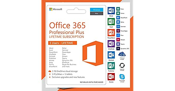 Microsoft Office 365 Pro Lifetime Subscription 5 Devices Windows/Mac