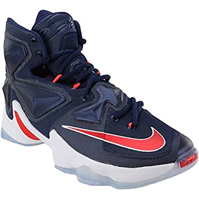 b45aa424c97 Image Unavailable. Image not available for. Color  Nike Men s Lebron XIII  Midnight Navy White Red ...
