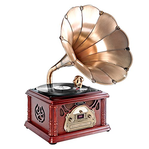 Updated Bluetooth Phonograph Record Player - Portable Version Gramophone w/ Aux-In, CD, FM/AM Radio, Vintage Retro Style, Vinyl-To-MP3 Recording, 45 RPM Adaptor, 3 Speed Turntable 33, 45, 75 RPM - Pyle PTCDCS32BT