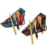 kilofly Wooden Japanese Fork Spoon Chopsticks 3 pcs Cutlery Set, Value Pack of 2