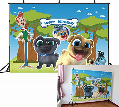 GYA 7x5ft Puppy Dog Pals Paw Patrol Birthday Party Theme Backdrop Boys Kids Happy Birthday Photography Background Cake Table Decorations Banner Baby Shower Photo Studio Booth Props