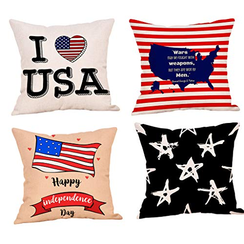 (4Pcs Throw Pillowcase Independence Day Style Throw Pillowcase Pillow Covers Decor Cushion Cover (A))